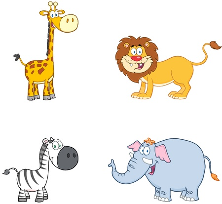 Jungle Animals Cartoon Mascot Characters Collection Vector