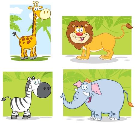 animales de la selva: Animales de la selva Personajes de dibujos animados con la colección de fondo