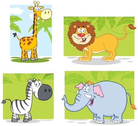 Jungle Animals Cartoon Characters With Background  Collection Vector