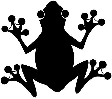 grenouille: Grenouille noire Silhouette Logo Illustration