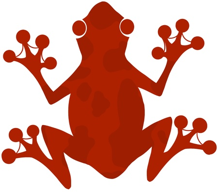 Red Spotted Frog Silhouette Logo  Vector