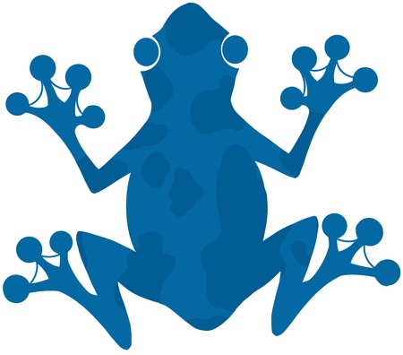 croaking: Blue Spotted Frog Silhouette Logo