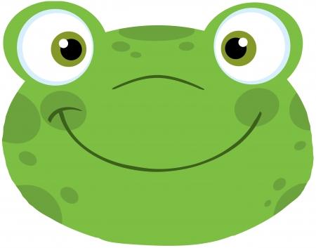 Cute Frog Smiling Head Vettoriali