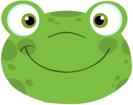 croaking: Cute Frog Smiling Head Illustration