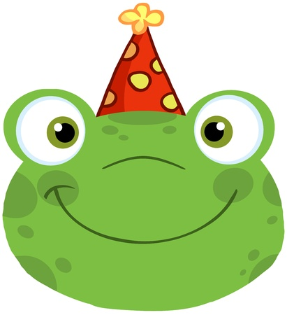 Cute Frog Smiling Head With Birthday Hat Vector