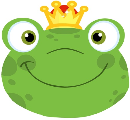 Cute Frog Smiling Head With Crown Vector