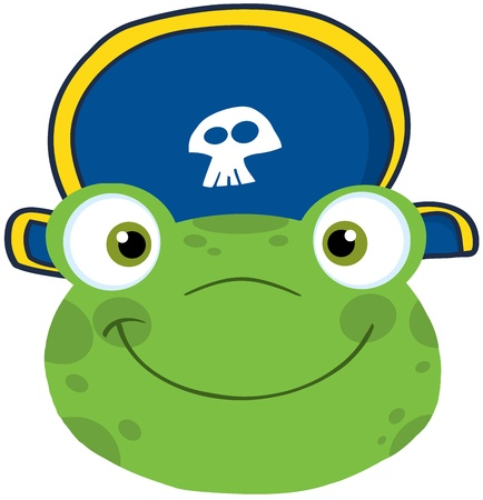 Cute Frog Smiling Head With Pirate Hat Vector