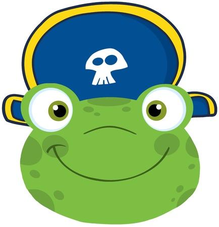 piratenhoed: Leuke Kikker Glimlachend Hoofd Met Piraat Hoed