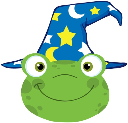 croaking: Cute Frog Smiling Head With Wizard Hat