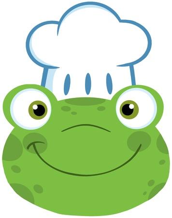 chapeau chef: Chef de sourire grenouille mignonne avec le chapeau de chef