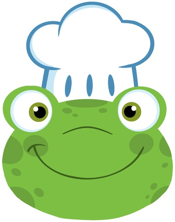 Cute Frog Smiling Head With Chef Hat Vector