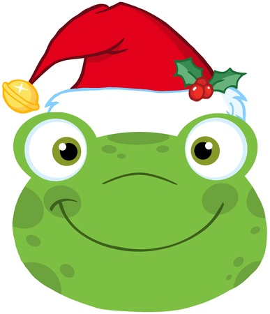 croaking: Cute Frog Smiling Head With Santa Hat