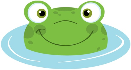 croaking: Cute Frog Smiling In Water