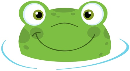 Cute Frog Smiling From Water Stock Vector - 20275514