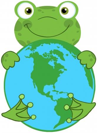Happy Frog Hugging Planet Earth Stock Vector - 20275537