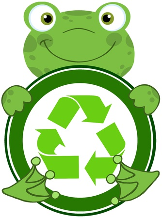 croaking: Happy Frog Hugging Banner With Recycle Symbol