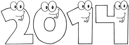 Outlined New Year Numbers Cartoon Characters Illustration
