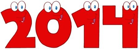 2014 Año Nuevo Números Personajes de dibujos animados Foto de archivo - 20275516
