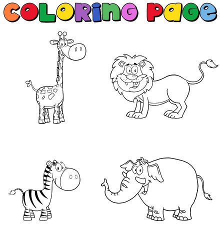 Jungle Animals Coloring Page Vector