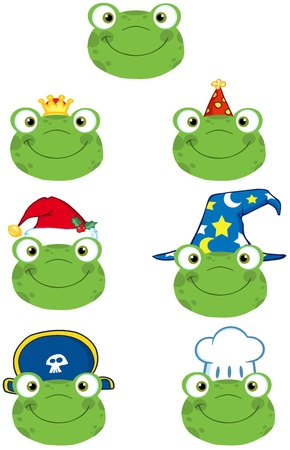 croaking: Frog Smiling Heads Collection Illustration
