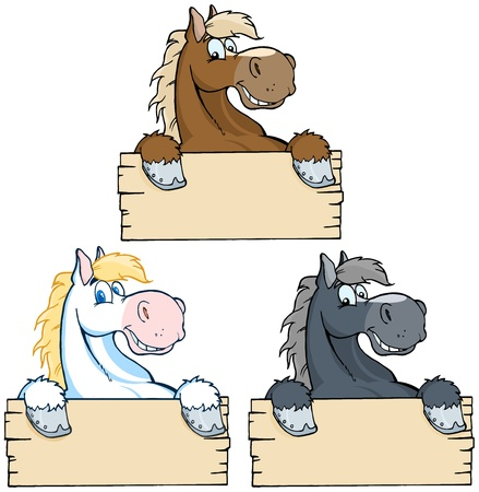 Set of Horses with Wood Sign Collection Ilustrace