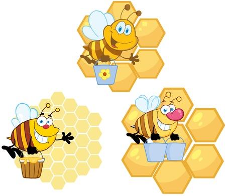 하이브 배경 컬렉션으로 꿀을 나르는 꿀벌