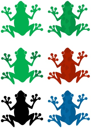 Different Color Frog Silhouettes Collection Vector