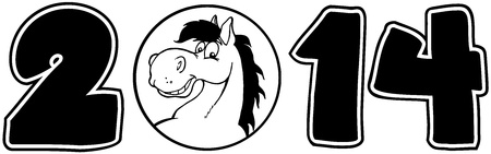 2014 Year Cartoon Numbers With Horse Face Over A Circle Illustration