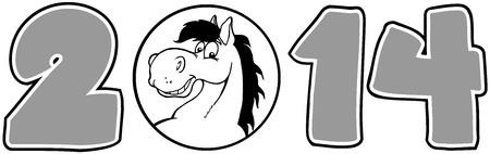 cartoon numbers: 2014 A�o Cartoon Numbers Con Horse Face M�s de un c�rculo en Gray