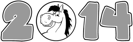 2014 Year Cartoon Numbers With Horse Face Over A Circle In Gray Vector