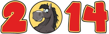 2014 Year Red Cartoon Numbers With Horse Face Over A Circle Vector