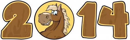 cartoon numbers: 2014 A�o de madera N�meros de dibujos animados con la cara del caballo sobre un c�rculo