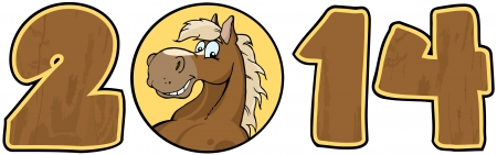 2014 Year Wood Cartoon Numbers With Horse Face Over A Circle Vector