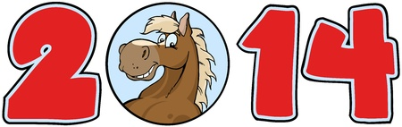 2014 Year Cartoon Numbers With Horse Face Vector