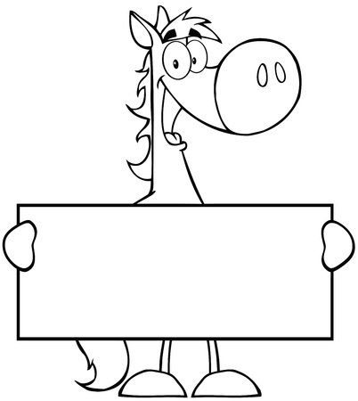 Outlined Horse Cartoon Mascot Character Holding A Banner Illustration