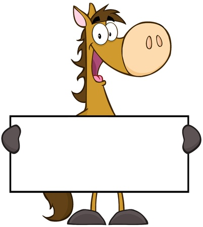 Horse Cartoon Mascot Character Holding A Banner Illustration