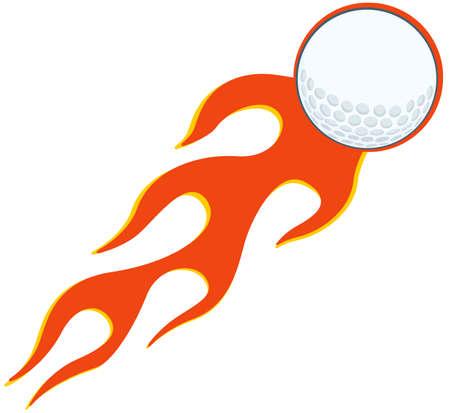 flaming: Flaming Golf Ball Illustration