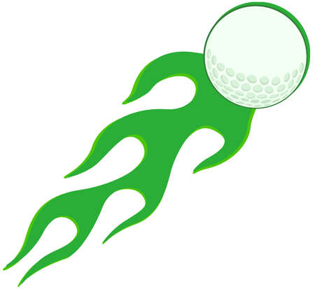 Flaming Golf Ball In Green Vector
