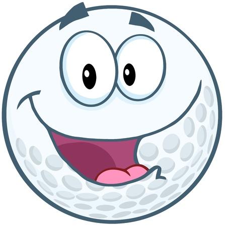 pelota caricatura: Feliz pelota de golf Cartoon car�cter de la mascota