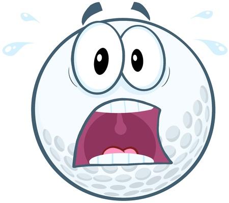 stress ball: Panic Golf Ball Cartoon Mascot Character