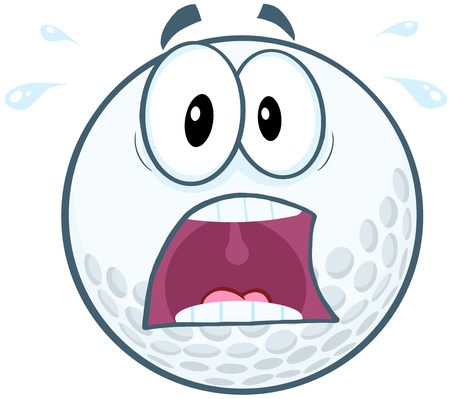 Paniek Golfbal Cartoon Mascot Karakter