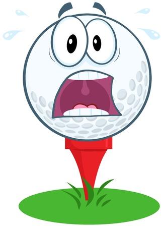 stress ball: Panic Golf Ball Cartoon Mascot Character Over Tee