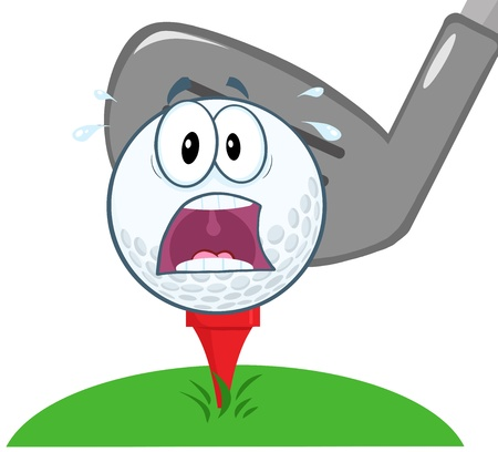 cartoon golf: Panic Golf Ball Over Tee Going To Be Hit By Golf Club