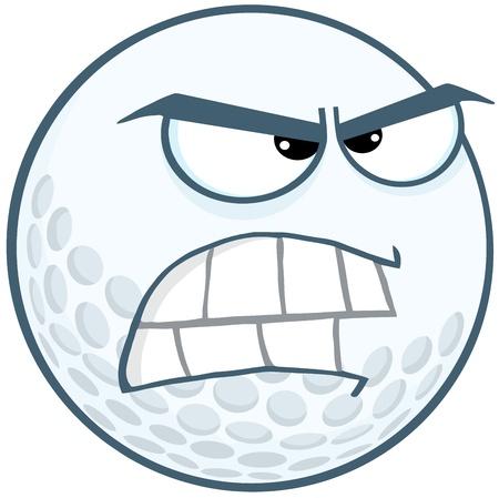 Angry Golf Ball Cartoon Mascot Character