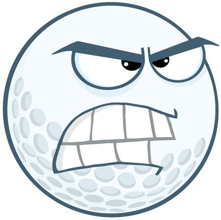 round face: Angry Golf Ball Cartoon Mascot Character
