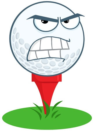 Angry Golf Ball Over Tee Stock Vector - 20749040