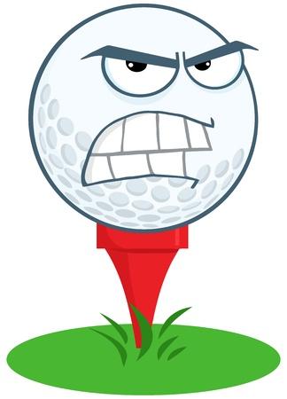 eye ball: Angry Golf Ball Over Tee