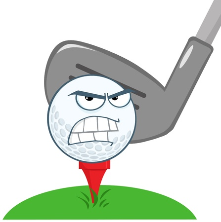 golf cartoon characters: Angry Golf Ball Over Tee Going To Be Hit By Golf Club Illustration