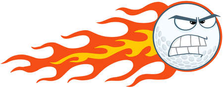 golf cartoon characters: Angry Flaming Golf Ball