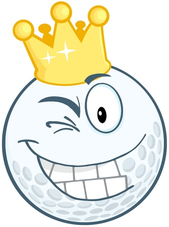 Smiling Golf Ball Cartoon Character With Gold Crown Winking Stock Vector - 20749043